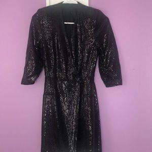 ZARA BLACK  SEQUINED DRESS/With BELT